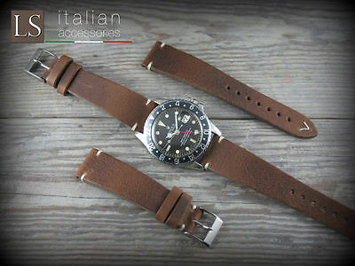 Cinturino in Pelle LS VACCHETTA 20 mm Vintage Watch Strap Band Tabacco
