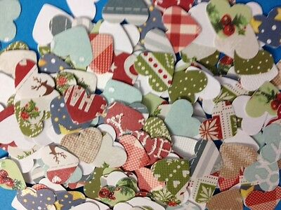 100 Small Paper Heart Christmas Card Making Scrapbooking Craft Embellishments