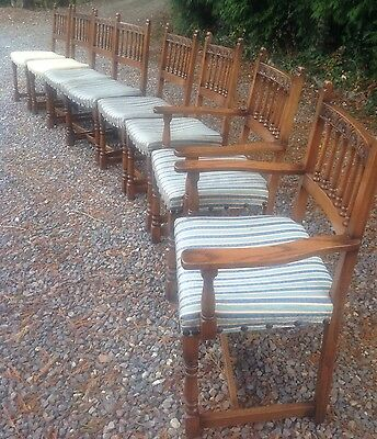 Vintage Chairs. 8 Oak Upholstered Seats. Carving. 6 + 2 Carvers