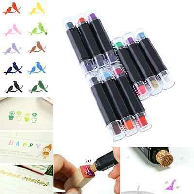 Craft Cute Cartoon Plastic Double Color Ink Pad Inkpad For Paper Fabric Stamps
