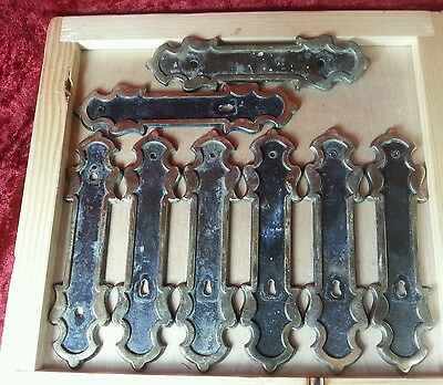 Lot 8 NLCO Metal Cabinet drawer pull handle back plates, vintage
