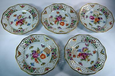 Antique Schumann Chateau Dresden Reticulated Bread Plate Set of Five