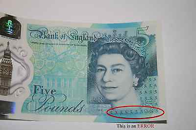 £5 Notes Ak08 536860 & Ak08 536861  New - With Rare Error - Consecutive Numbers