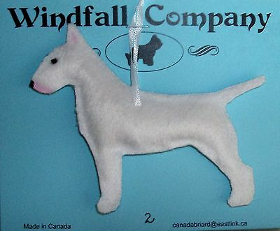 White Bull Terrier Dog Plush Christmas Canine Ornament # 2 by WC