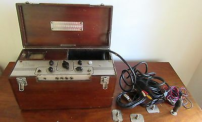 Edin Electronics Vintage Electrocardiograph With Leads  And Wood Case