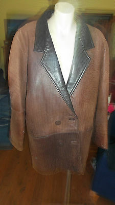 Retro leather car coat brown soft size small mens