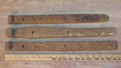 "3 Mismatched Hand Forged Iron Straps,19"",18-13/16"",17-9/16"",Great Rusty Patina"