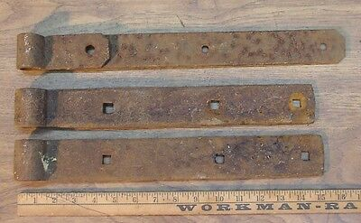"3 Mismatched Hand Forged Iron Straps,15-1/4"",15"",&16-11/16"",Great Rusty Patina"