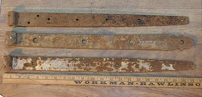 """3 Mismatched Hand Forged Iron Straps,21"""", 21-1/4"""",& 20-5/8"""",Great Rusty Patina"""
