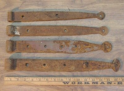 """4 Mismatched Hand Forged Iron Straps,15-5/8"""",14-1/2,14,13-1/2,Great Rusty Patina"""