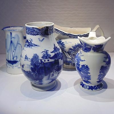 Vintage/antique lot of 4 flow blue white cream pitchers hand painted & transfer