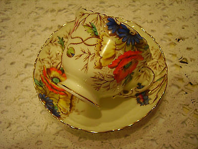 Rare Older Aynsley Tea Cup and Saucer Intricate Handpainted Poppies MINT