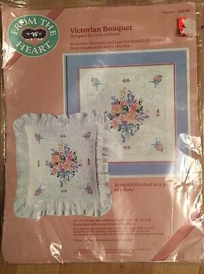 Vtg Dimensions Victorian Bouquet Crewel Embroidery From The Heart kit 51036 1988
