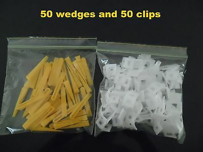 Tile Leveling System Kit 50 Clips  50 Wedges levelling spacer Floors Wall