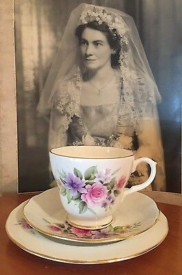 Antique Vintage Trio Cup Saucer Plate Afternoon High Tea Duchess Pink Roses