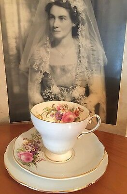 ANTIQUE VINTAGE TRIO CUP SAUCER PLATE AFTERNOON HIGH TEA EB FOLEY Pretty~*