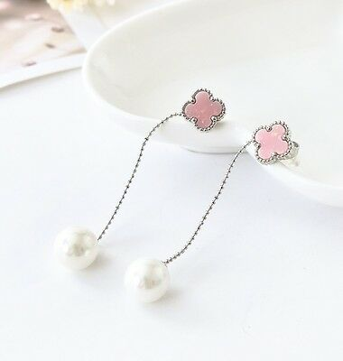 New 18K White Gold Filled Pink Four Leaf Clover Pearl Drop Dangle Stud Earrings