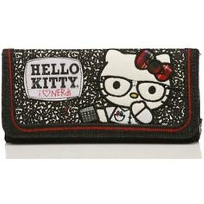 """NWT Loungefly Hello Kitty """"Composition Kitty"""" Denim Appliqued Trifold Wallet"""