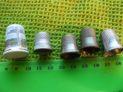 Lot 5  Vintage  Thimbles....used...4 metal & 1 Porcelain Lands End UK