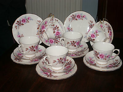 Queen Anne Pink Roses 6 setting tea set