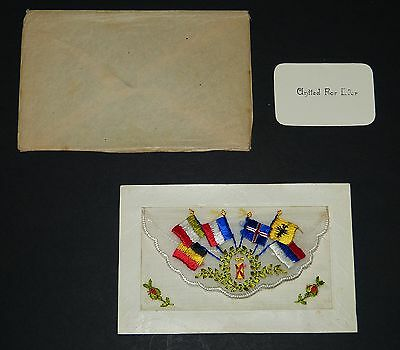 WW1 Embroidered SILK Sweetheart POSTCARD United For Ever ALLIED FLAGS Great War