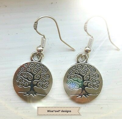 Sterling Silver 925 Hook Tree Of Life Magical Wican Earrings. Gift Box Or Pouch