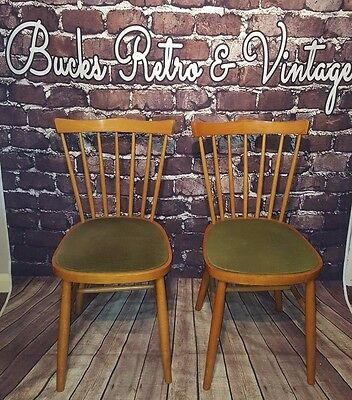 Vintage Retro Mid Century Pair Wooden Ercol Windsor Style Chairs Seat 1960's 70s