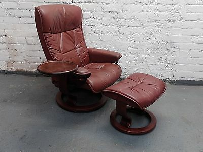Stressless by Ekornes. Revolving, Reclining Vintage Red Leather Armchair(20C946)