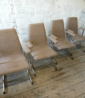 Midcentury Set of 4 Pieff Chrome Arm Dining Chairs  (20C166)