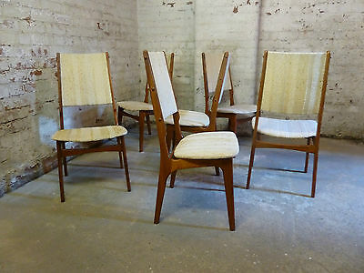 Midcentury Danish Set of 6 High Back Rosewood Dining Chairs c1960  (20C328)