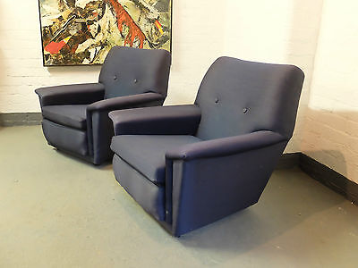 Pair of 1950s Upholstered Arm Chairs  (20C705)
