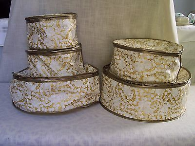Gold White Floral China Keepers Set of 5