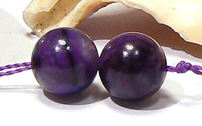 2 NATURAL UNTREATED AFRICAN PURPLE SUGILITE ROUND BEADS 8mm 8ctw AMAZING PAIR