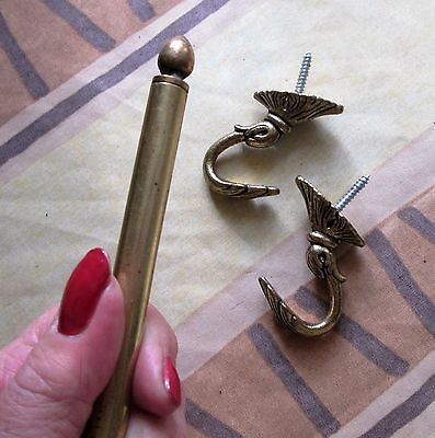 """Vintage French Brass 29"""" Curtain Rod With 2 Ornate Brass Wall Or Tie Back Hooks"""
