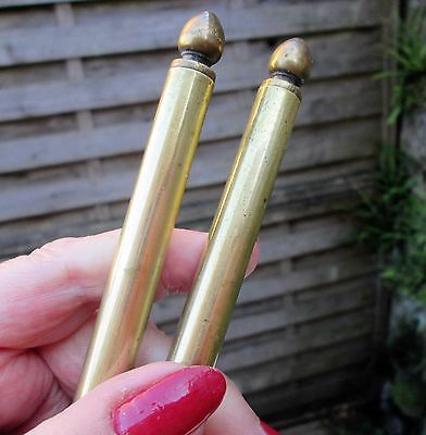 "Pair Of Vintage French Brass Curtain Rods 29"" Long Cafe Net Pole Rail"