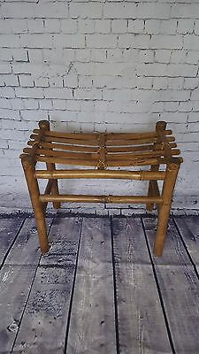 Vintage Antique Oriental Bamboo Stool Seat Chair Conservatory Furniture