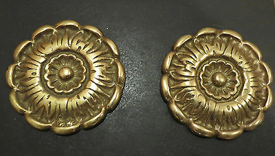 Vtg Antique 2 Brass~French Provincial Decorative Rosettes Medallions LARGE