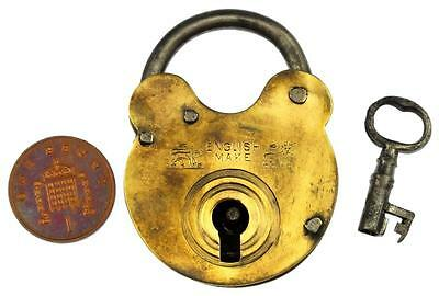 Antique Brass Padlock with LION Motifs & Key English Make - My Ref P394