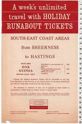 1961 Holiday Runabout Tickets Handbill - Southern Region - Sheerness Hastings