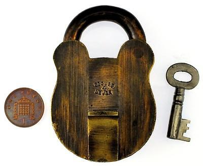 """Antique 3"""" Brass Padlock with Key - 4 Lever - My Ref P401"""