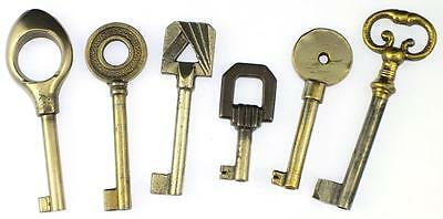 Antique/Vintage Furniture Keys Collection of 6 - My Ref.J41