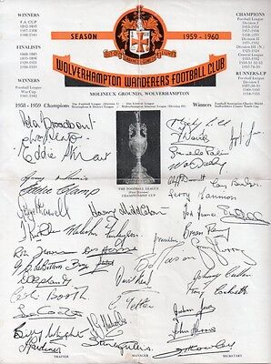 Wolverhampton Wanderers 1959-1960 List of Achievements and Printed Autographs