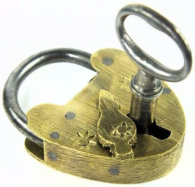 Antique Brass Padlock with Sun Motifs and Key - My Ref P244