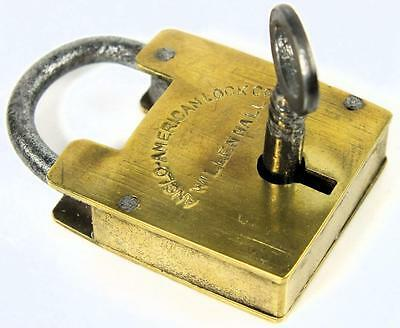 Antique Brass Padlock Anglo American Lock Co Willenhall with Key - My Ref P278