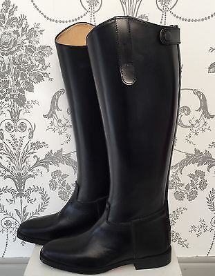 NEW * SHIRES * NORFOLK BLACK LEATHER LONG RIDING BOOTS * UK 4 Eu 37
