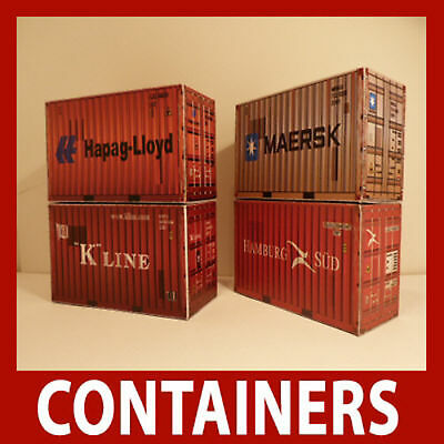 """OO Model Railway """"Pre-Weathered"""" Shipping Containers Model Card Kits 20ft  x 6"""