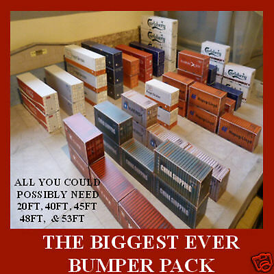 """Z Gauge Shipping Containers Card Kits Model """"THE BIGGEST BUMPER PACK EVER"""" x 16"""