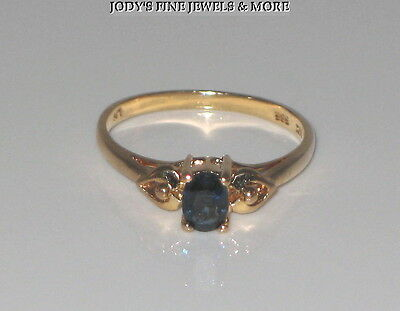 SPECTACULAR ESTATE 14K YELLOW GOLD OVAL BLUE SAPPHIRE LADIES RING Size 6