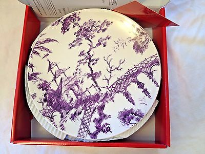"Scalamandre by Lenox Set of 4 9"" Accent Plates  Amethyst Purple Toile Tale - New"