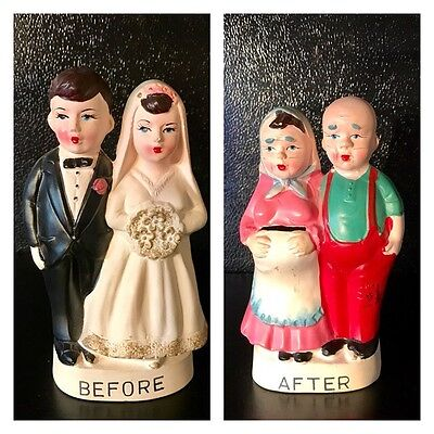 Vintage Bank Double Sided Before & After Marriage Japan Chalkware Wedding Gift